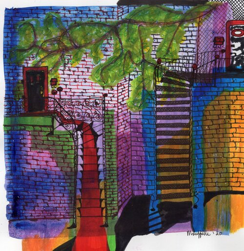 Illustration of two colourful staircases leading to doors