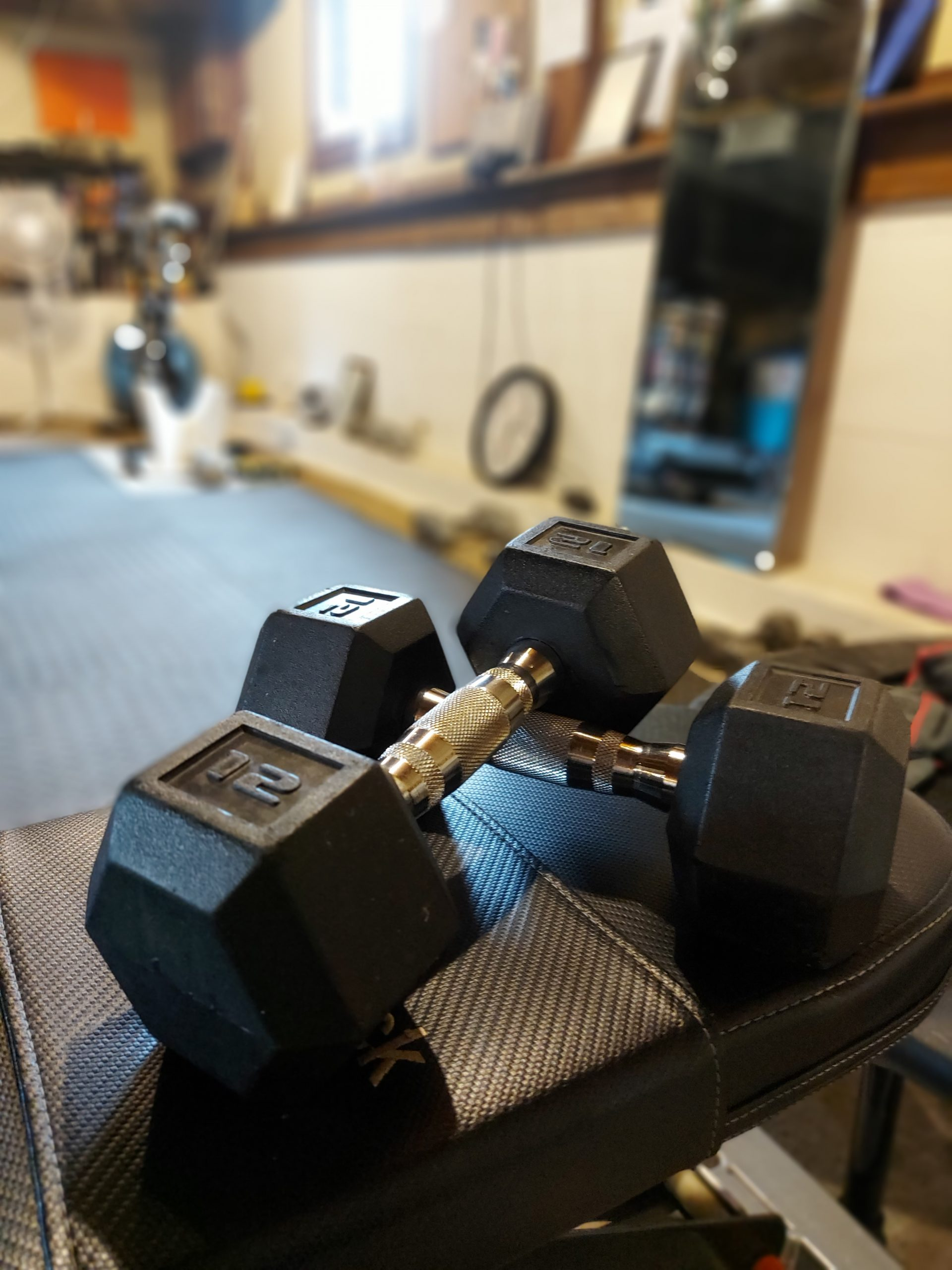 Two dumbbells on a workout bench.