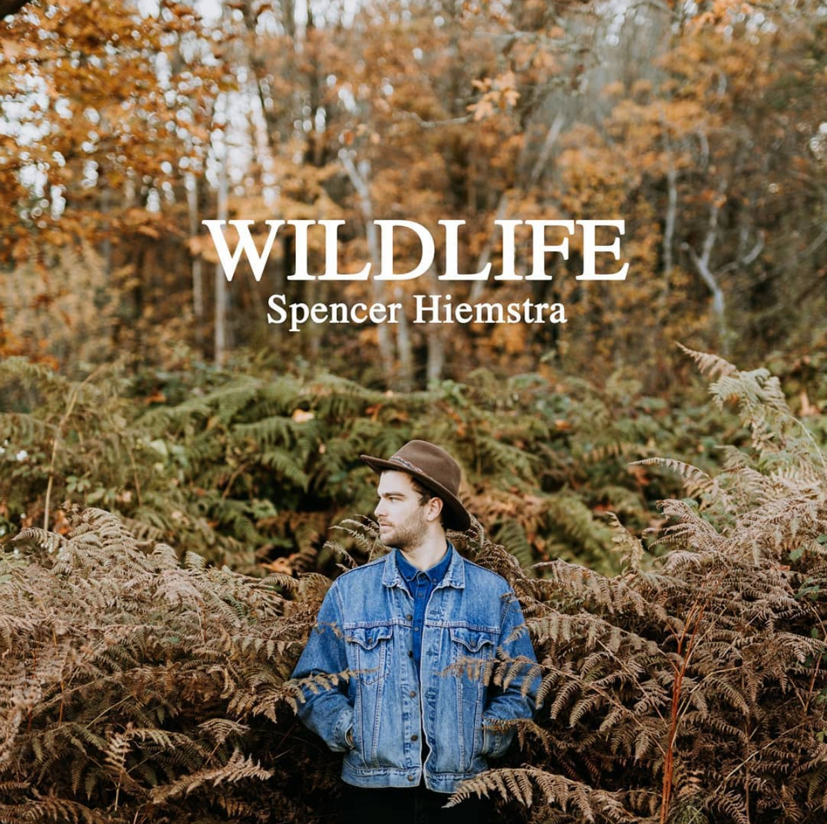Album cover for Spencer Hiemstra's album Wildlife, pictures Hiemstra standing in a forest with brown and green ferns and orange-leaved trees.