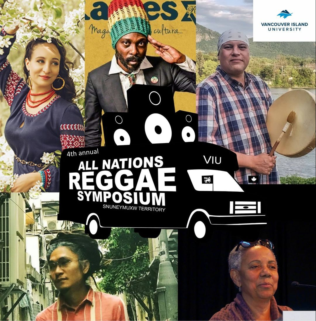 The poster for the All Nations Reggae Symposium show cases photos of Lillian Allen, Culture Brown Shauit, Oh Jeong Seok, and Auresia