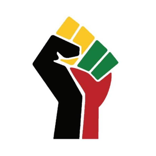 Anti-Racism Coalition Vancouver's logo. A raised fist made of of 4 segments: one black, one red, one yellow, and one green.