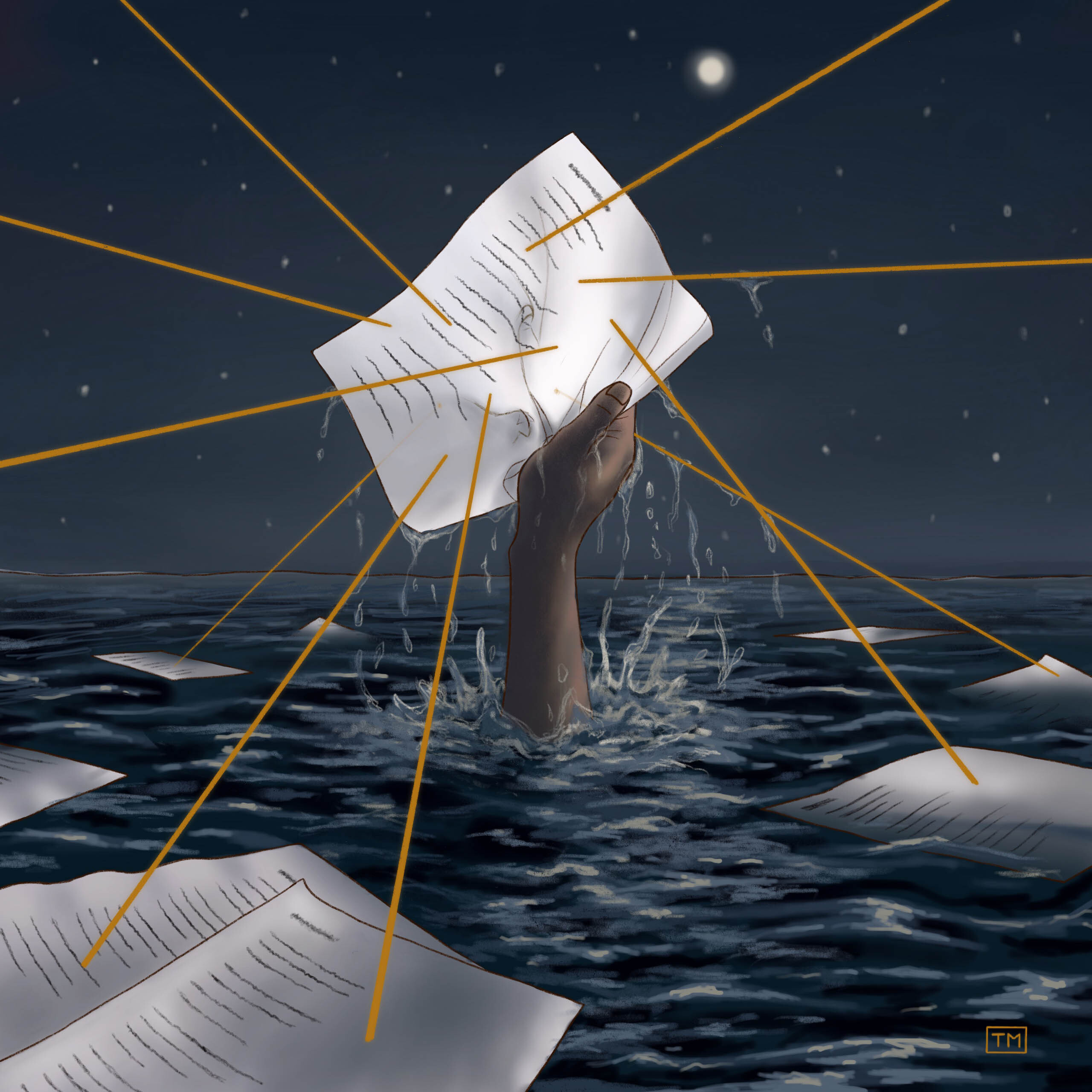 A hand thrusting up through the surface of dark water cluching a story printed on paper.