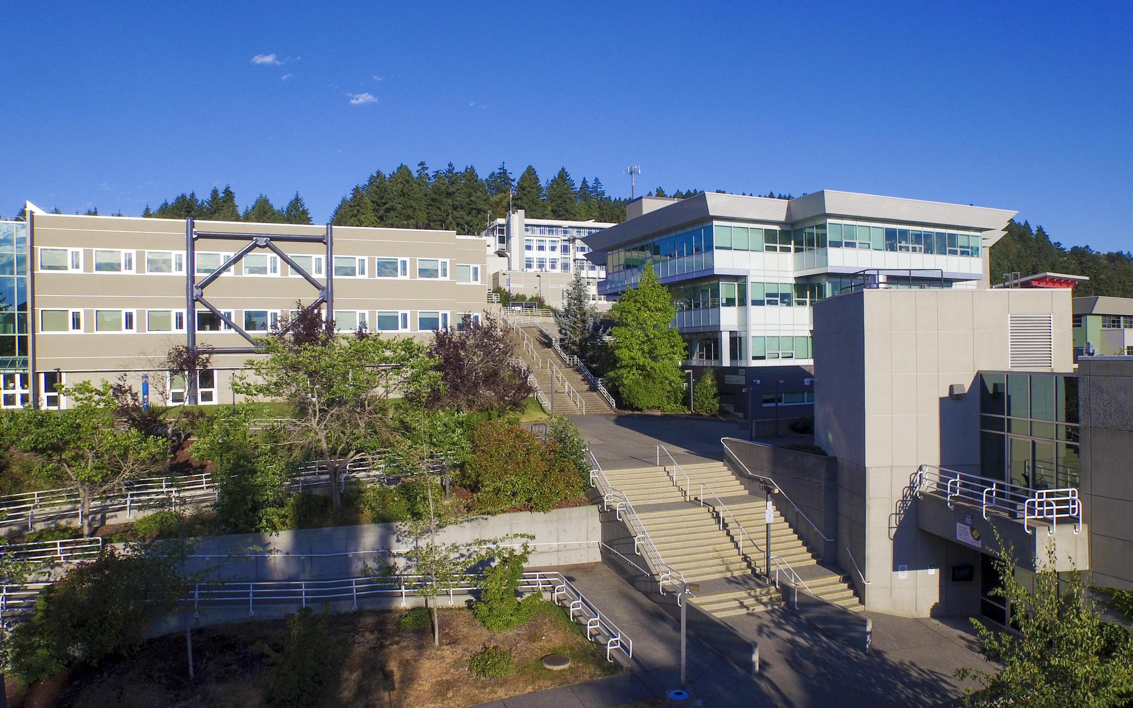 Aerial shot of the VIU campus
