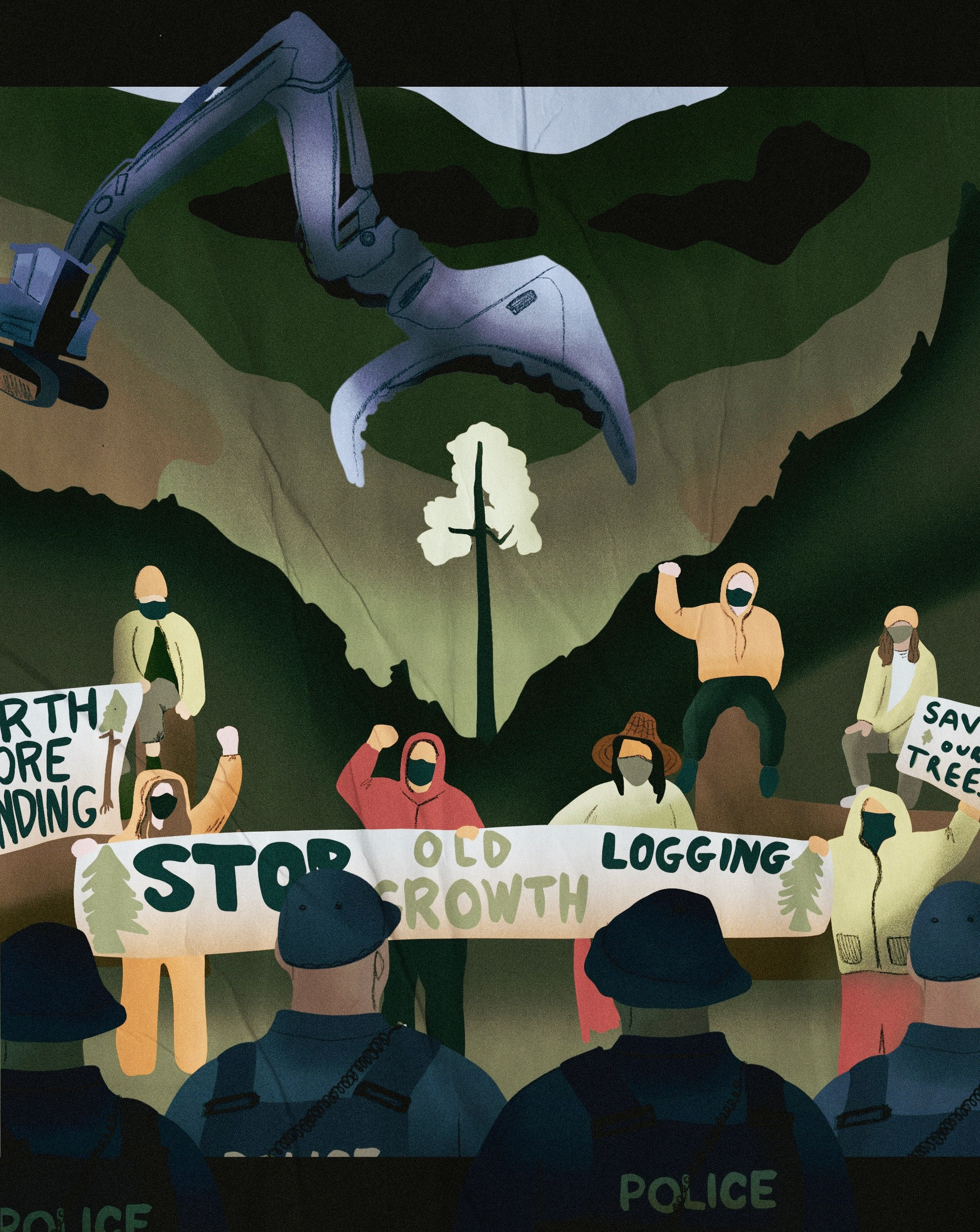 An illustration by Claire Stewart depicting old-growth logging protesters at Fairy Creek Blockade.