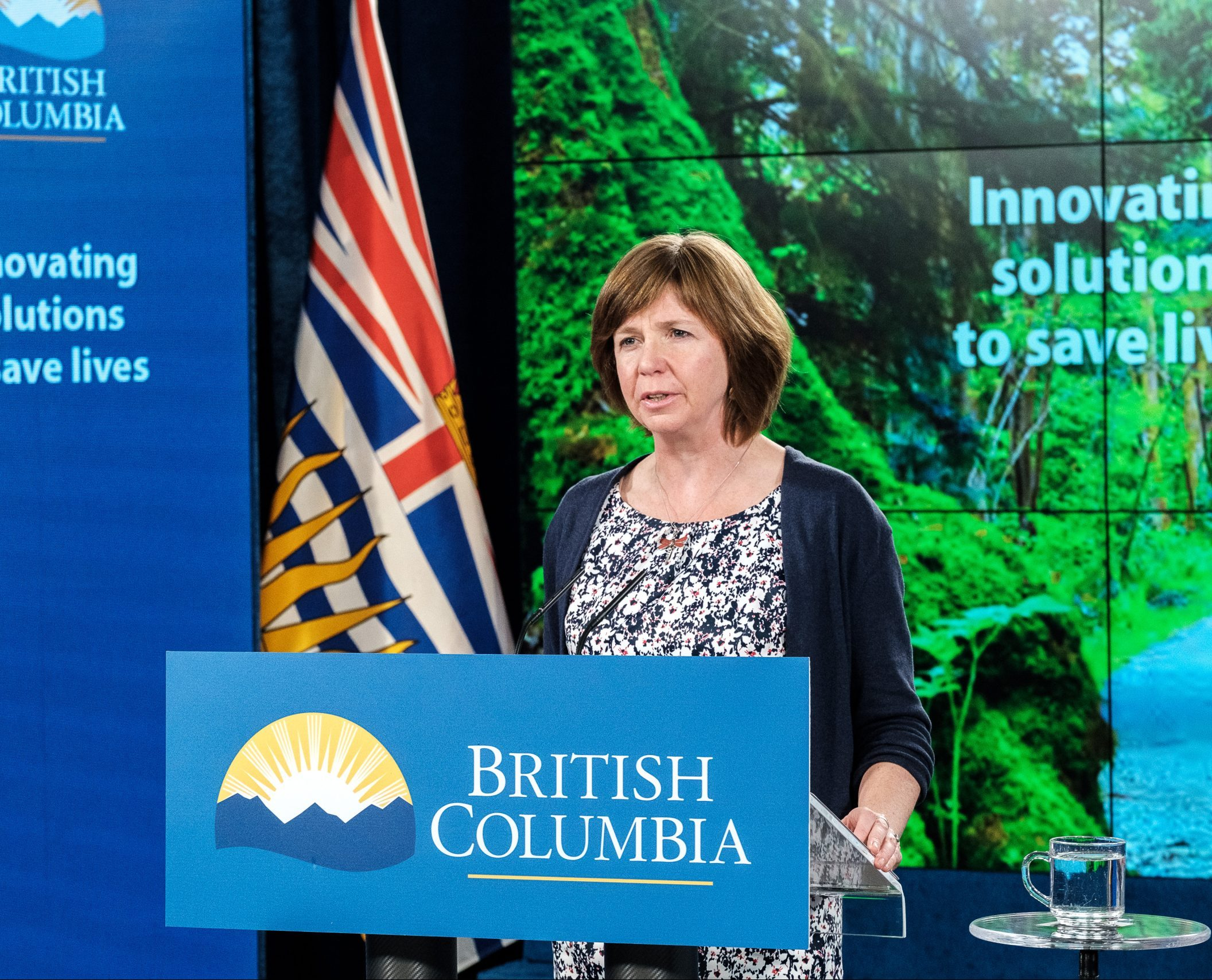 Sheila Malcolmson stands behind a BC government podium